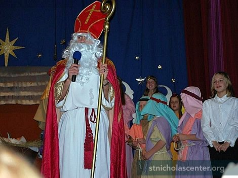 Saint NIcholas addresses the gathering