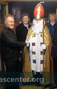 St Nicholas greeted by Father John Panario at Our Lady of Dover Roman Catholic Church, and Father Peter Sherred, Anglican Ambulance Chaplain for Dover