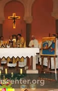 Icon prominently placed during Mass