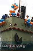 Sinterklaas coming on steamship from Spain