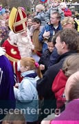 Sinterklaas walking about greeting children