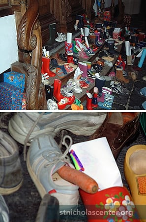Shoes filled with carrots and wish lists, waiting for Sint