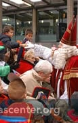 Sinterklaas greets the crowds at the station