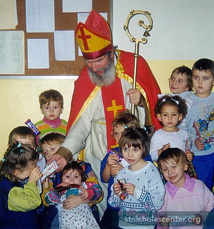 St Nicholas at a party for children with cerebral palsy