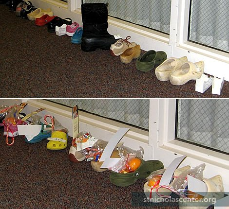 Above: Shoes lined up in the hall, waiting<br />Filled shoes ready for children