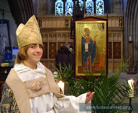 The boy Bishop with the Cathedral icon of Saint Nicholas