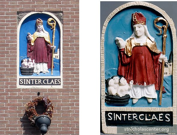 Orignal tablet, Dam Square, Amsterdam; replica on the right<br />Photo: C Myers
