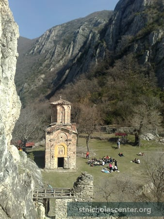 "Photo: Mario Sharevski <a href=""http://www.panoramio.com/photo/37548467"" target=""new"" class=""link"">Panoramio</a><br />The church as seen from the rock cliff above"