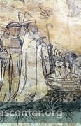 Saint Nicholas with children in tub<br />Medieval wall paintings discovered under whitewash during restoration