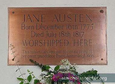 Plaque in honor of Jane Austen, north wall of the nave