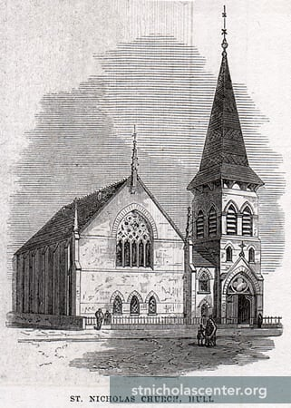 St. Nicholas Church, Hull, 1871, the year it was rebuilt and consecrated. Originally Bethesda Chapel (1842), it became Danish Lutheran in 1850; destroyed in World War II
