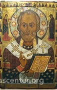 "The icon, by Aleksa Petrov, 1294, is the first signed icon of Saint Nicholas; it is now in the Novgorod State Museum<br />Photo: Vash Alex kun <a href=""http://commons.wikimedia.org/wiki/Category:St_Nicholas_Church_(Lipno_Island)"" target=""new"" class=""link"">Wikimedia Commons</a>"