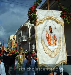 Procession led by banner