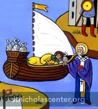 St Nicholas appearing to ship captain