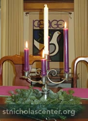 Advent wreath on table