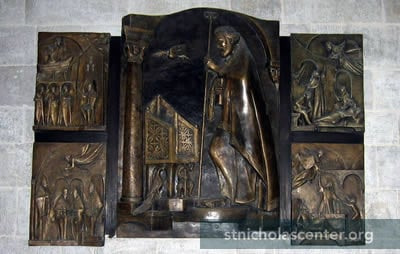 Three panel bronze relief