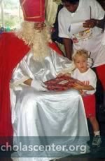 Sinterklaas giving gift