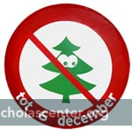 Christmas tree with red forbidden symbol