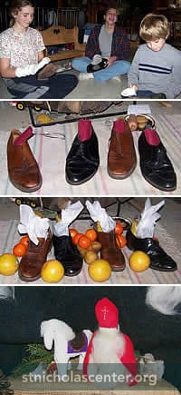 Shining shoes, shoes waiting, filled, felt Nicholas