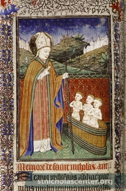 St Nicholas with clerks in tub