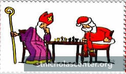 Sinterklaas and Santa at the chessboard