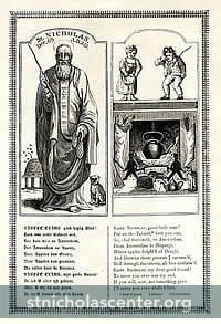 Saint Nicholas with dog & beehive, children & fireplace