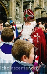 St Nicholas with choristers at Canterbury Cathedral