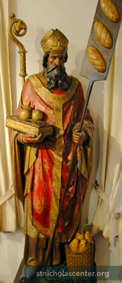 St Nicholas with loaves of bread