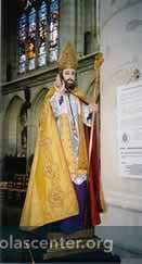 Statue with gold vestments