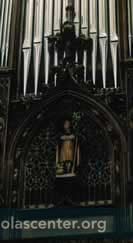 Organ with carving of St Nicolas