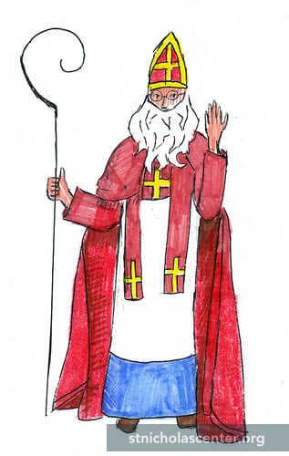 St Nicholas in red
