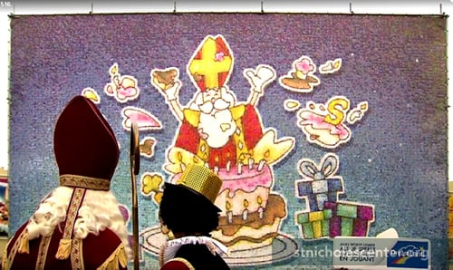 St Nicholas with giant drawing