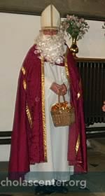 St Nicholas with basket of gold coins