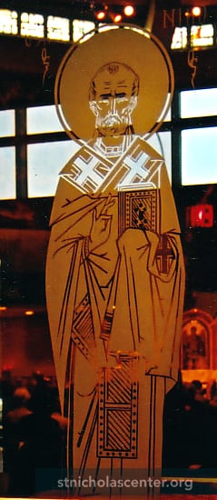 Saint Nicholas etched glass