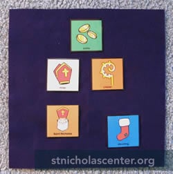 Saint Nicholas story object cards on underlay