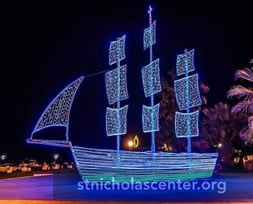 Lighted Christmas boat