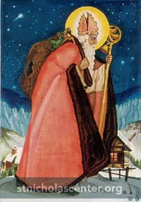 Saint Nicholas with sack on his back