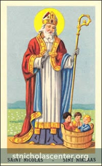 St Nicolas with 3 children