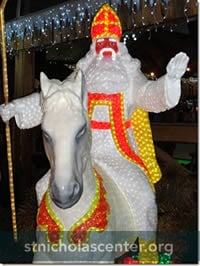 Lighted Sinterklaas on horse decoration