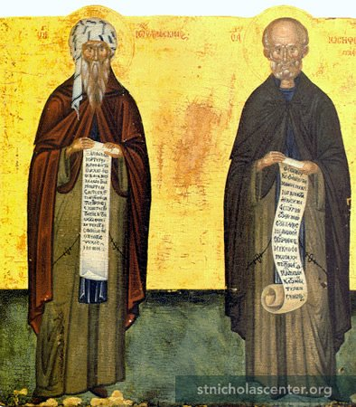 Two saints holding scrolls