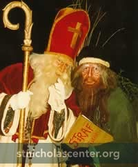 Ruprecht dressed in green with Nikolaus