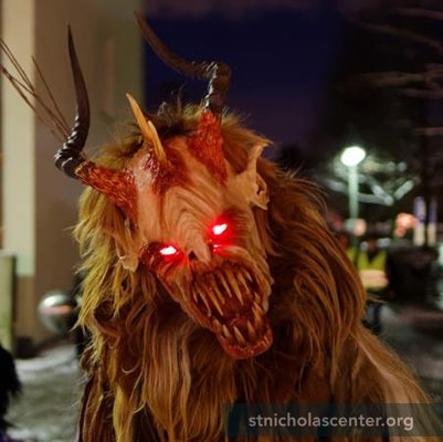 Krampus with glowing eyes