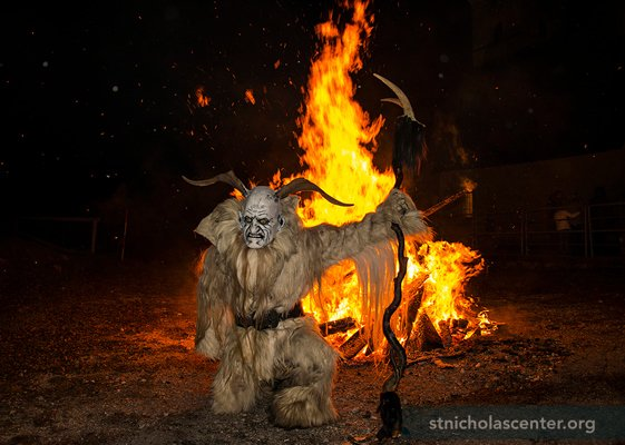 Krampus with bonfire
