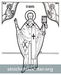 Line drawing of St. Nicholas icon