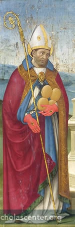 Detail, St. Nicholas, full figure holding loaves of bread
