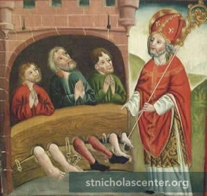 St Nicholas with three men in stocks