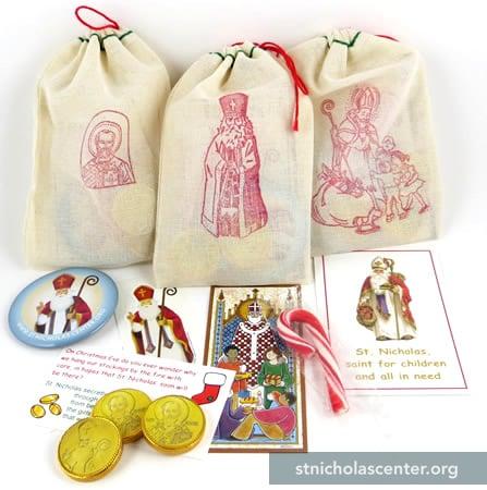 Muslin Bags Filled To Help Children Understand St Nicholas