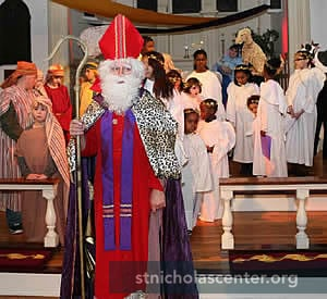 St Nicholas with pageant cast