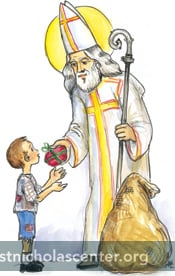 St Nicholas giving package to boy