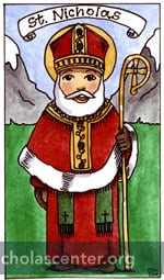 St Nicholas in red robes